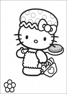 coloring page Kitty tar et bad