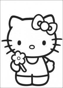 coloring page Kitty has picked a flower