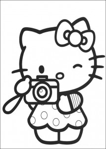 coloring page Kitty takes a picture
