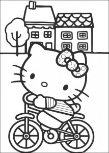 coloring page Kitty på sykkelen