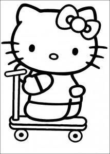 coloring page Kitty on the scooter