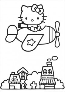 pagina da colorare Kitty sta volando