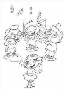 kleurplaat Kleine Einsteins maken muziek