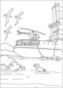 coloring page Little polar bear by ship