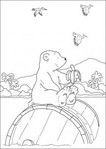 раскраска Маленький белый медведь ест банан