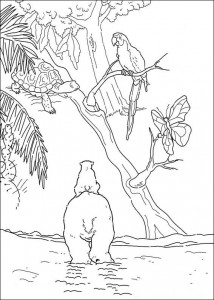 coloring page Little polar bear and parrot