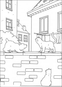 coloring page Little polar bear and cat
