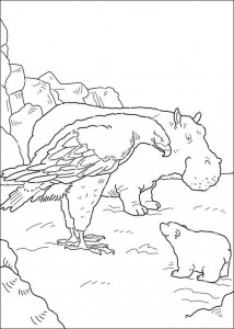 coloring page Little polar bear and bald eagle