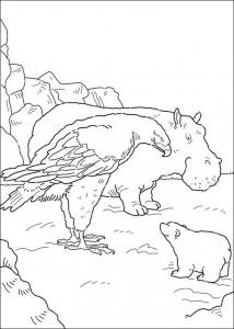 kleurplaat Kleine ijsbeer en zeearend