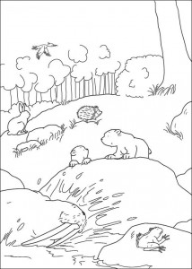 coloring page Little polar bear in forest