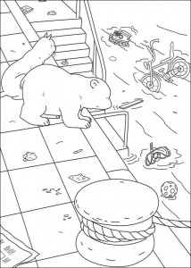 coloring page Little polar bear in the harbor