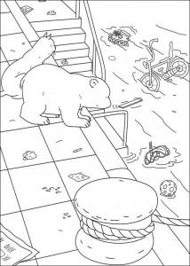 målarbok Liten isbjörn i hamnen