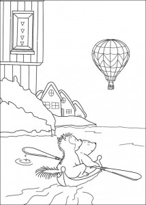 coloring page Small polar bear in canoe