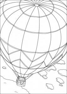 coloring page Little polar bear in air balloon