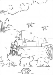 coloring page Little polar bear in New York