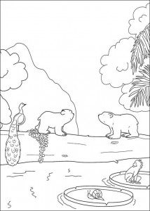 coloring page Little polar bear in tropics (1)