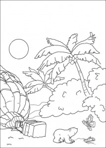 coloring page Little polar bear in tropics