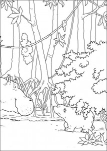 coloring page Little polar bear with hippo (1)