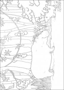 coloring page Little polar bear with hippo (2)