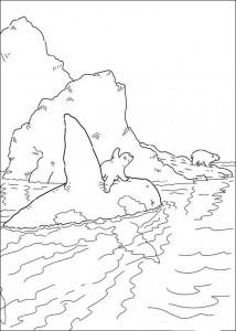 målarbok Liten isbjörn med orca