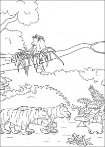 coloring page Little polar bear with tigers