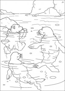 coloring page Little polar bear with seals
