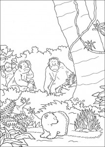 coloring page Little polar bear among the ants