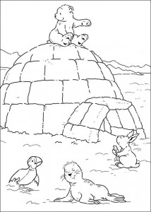 coloring page Little polar bear on igloo