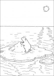 coloring page Little polar bear on ice floe