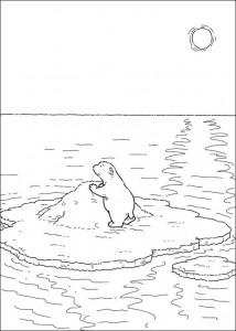 coloring page Lille isbjørn på isflak