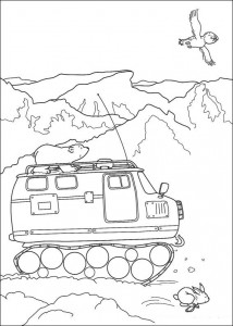 coloring page Little polar bear on polar vehicle