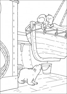 coloring page Little polar bear on ship