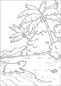 målarbok Liten isbjörn på stranden