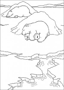 coloring page Little polar bear is sleeping