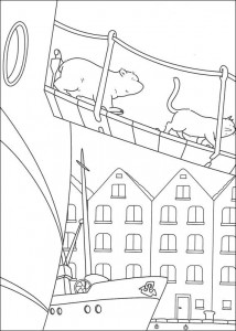coloring page Little polar bear on board