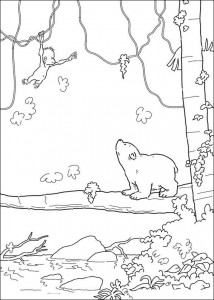 coloring page Little polar bear sees monkey