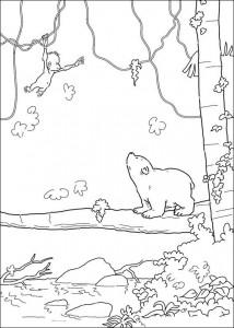 kleurplaat Kleine ijsbeer ziet aapje