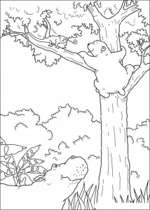 coloring page Little polar bear sees chameleon (1)