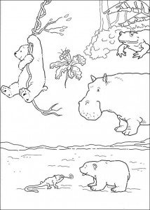 coloring page Little polar bear sees chameleon