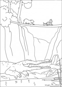 coloring page Little polar bear sees crocodile