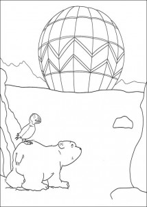 coloring page Little polar bear sees balloon (1)