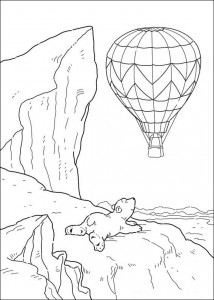 coloring page Little polar bear sees hot air balloon