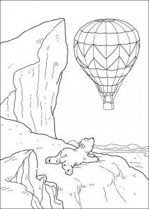 målarbok Den lilla isbjörnen ser luftballongen