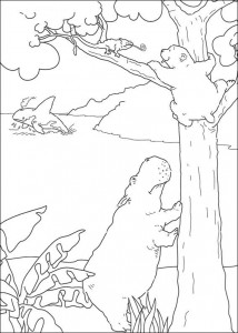 coloring page Little polar bear sees hippo