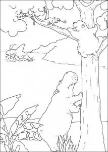 målarbok Den lilla isbjörnen ser flodhäst