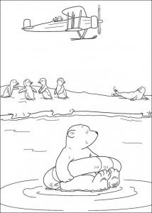 kleurplaat Kleine ijsbeer ziet vliegtuig (1)