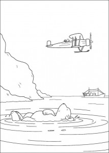 coloring page Little polar bear sees plane
