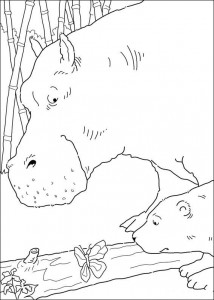 coloring page Little polar bear sees butterfly