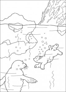 coloring page Little polar bear is swimming