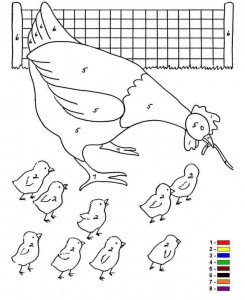 Malvorlage Farbe nach Zahlen Farm (1)